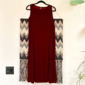 Eileen Fisher velvet midi dress red burgundy wine